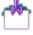 Greeting Card with Bow Ribbon and Pine Twigs vector image vector image