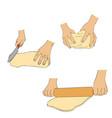 hands knead dough vector image vector image