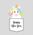 happy new year unicorn horse sitting in the vector image
