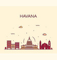 havana city skyline cuba linear style city vector image vector image