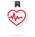 heart pulse beat - red icon with shadow vector image vector image