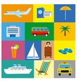 icons of tropical travel concept sea and ocean vector image