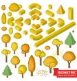 Isometric autumn trees hedge and bushes vector image vector image