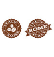 italy rome stamp seals with grunge texture in vector image vector image