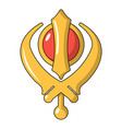 khanda symbol sikhism religion icon cartoon style vector image vector image