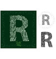 leaves alphabet letter r vector image