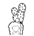 line cute girl with balloons in the hand vector image vector image