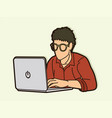 man works on his laptop cartoon graphic vector image