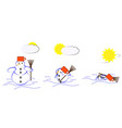 Melting snowman vector image vector image