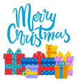 merry christmas winter holidays presents gifts vector image vector image
