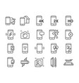 mobile line icon set vector image vector image