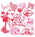 paper cut silhouette cute sweet love set vector image vector image