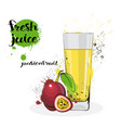 passion fruit juice fresh hand drawn watercolor vector image vector image