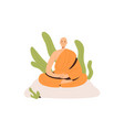 peaceful buddhist monk in robe meditating in lotus vector image
