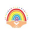 rainbow flag pride logo hand-drawn rainbow and vector image vector image