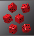 red dice with black points vector image