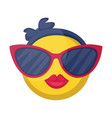 round female emoji yellow face with pink lips and vector image vector image