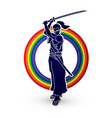 samurai standing with sword katana ready to fight vector image vector image