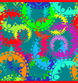 seamless texture of bright blue gears and laurel vector image vector image