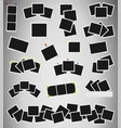 set of square photo frames on sticky tape pins vector image vector image