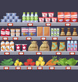 shelves with products shop store and promotion vector image