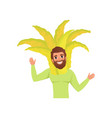 smiling man character in fingered citron fruit vector image vector image