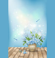 Spring blue flowers dragonflies on wood background vector image vector image