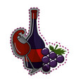 sticker glass splashing wine and bottle and grape vector image vector image