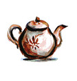 teapot on white background watercolor vector image vector image