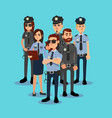 the squad of policemen in work clothes vector image vector image