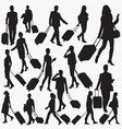 travellers with suitcase silhouettes vector image vector image