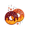 two donuts with colorful sprinkles caramel and vector image vector image