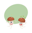 two funny porcini mushroom characters jumping from vector image vector image