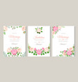 wedding card with roses red white and pink roses vector image vector image