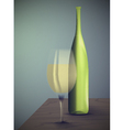 wine bottle with glass vector image vector image