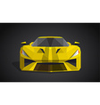 Yellow sport car on grey background - polygonal vector image