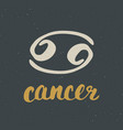 zodiac sign cancer and lettering hand drawn vector image