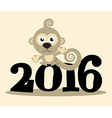 2016 Year with Monkey Flat Design vector image