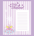 baby shower blank note card vector image vector image