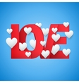 Background beautiful red text LOVE and white heart vector image vector image