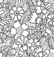 Black doodle flowers pattern vector image