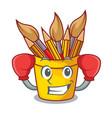 boxing pencil pot shape on the cartoon vector image