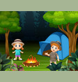boys and girls standing around a campsite vector image vector image