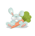bunny toy for children with carrots template vector image