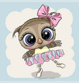 cartoon owl ballerina on a blue background vector image vector image
