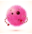 Cute pink fluffy monster vector image