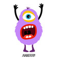 cute violet monster print for t-shirt vector image