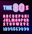 eighties style retro font 80s font design with vector image vector image