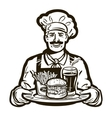 fast food logo restaurant or cook chef vector image