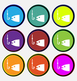 Fishing icon sign Nine multi colored round buttons vector image